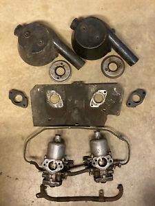 Mg Mgb Su Aud550 Hif4 Carburetors With Air Cleaners Heat Shield Spacers