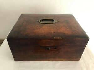 Antique Original Wooden Sewing Work Box With Brass Fittings