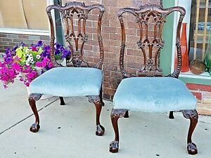 Chippendale Gothic Classical Mahogany Wood Carved Chair Museum Quality 3 4