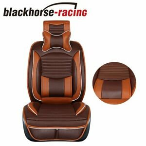 Deluxe Pu Leather Front Rear Car Seat Cover 5 Seats Suv Cushions W Pillows Set