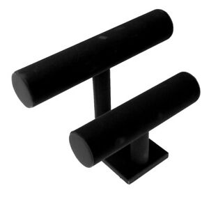T bar Jewelry Bracelet Watch Display Stand Holder Velvet Black