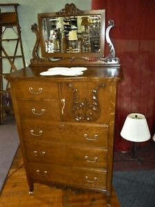 Antique Oak High Chest Highboy W Mirror Ornate Hatbox 1900 Refinished Dresser