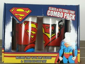 Superman Glass & Ice Cube Tray Combo Pack