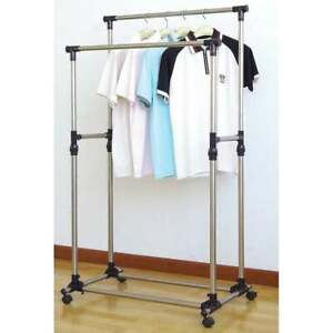 Heavy Duty Garment Rack Double Rail Adjustable Rolling Clothing Rack Drying Rack