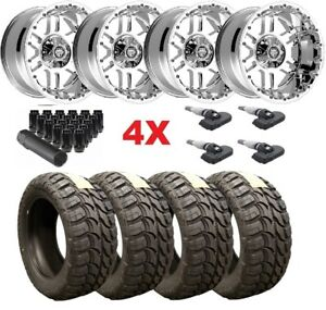 20x12 Chrome Wheels Rims Tires 33 12 50 20 Wrangler Gladiator Fuel Mud M T