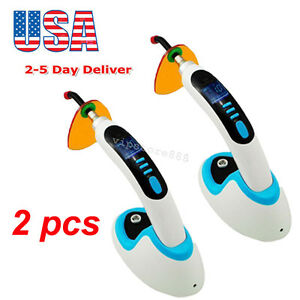 2pcs 10w Wireless Cordless Led Dental Curing Light Lamp 2000mw 2 5 Days To Usa