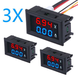 3pc Dc 100v 10a Voltmeter Ammeter Blue red Led Dual Digital Volt Amp Meter Gauge