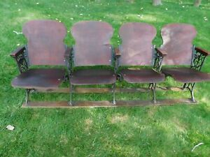 Antique Threatre Seats 4 Attached Dated Feb 2 1909