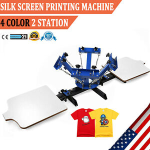 4 Color Silk Screen Printing Kit Press Equipment T shirt Machine Diy 2 Station