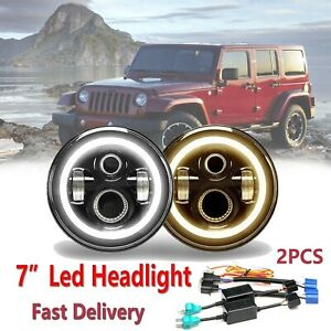 2x 7 Inch Led Angel Eye Headlight Hi Lo Beam For Chevy Chevrolet Truck 1947 1957