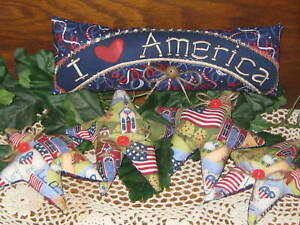 America Fabric Sign Patriotic Stars Wreath Making Country Christmas Home Decor