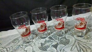 Coca -Cola Vintage Christmas  Drinking Glasses Santa with a coke set of 4  EUC