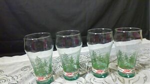 Coca -Cola Vintage Christmas  Drinking Glasses Christmas Trees  set of 4  EUC