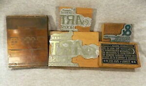 Antique Printers Blocks Lot Of 5 Copper Lead Printing Type Set Wood Ampersande