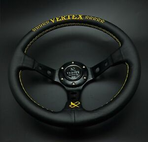 320mm Vertex Leather Steering Wheel Deep Dish For Hub Drifting Yellow Stitch