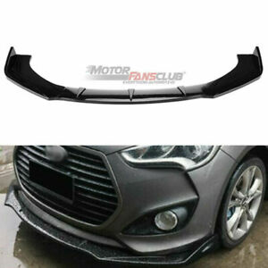 3pcs For Hyundai Veloster 2013 2017 Glossy Black Front Bumper Molding Cover Trim