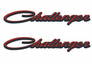2x Red Challenger Emblems Badge Decal Replacment New Genuine L