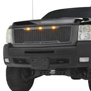Full Upper Led Grill Front Hood Grille Fit For 07 10 Chevy Silverado 2500 3500