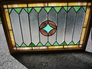 Antique Vintage C1920s Stained Glass Transom Window Framed