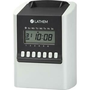 Lathem 700e Calculating Electronic Time Clock Card Punch stamp 100