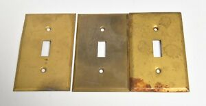3 Vintage Brass Switch Plate Cover