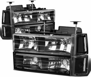 For 1994 1998 Gmc Sierra C K 1500 Headlights Head Lamps Set Pair Black Clear 2pc