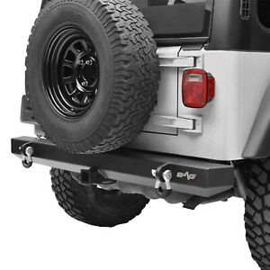 Fits 87 06 Jeep Wrangler Yj Tj Rear Bumper With 2 Hitch Receiver d ring Offroad
