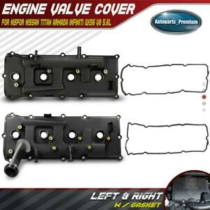 2x Engine Valve Cover W Gasket For Nissan Armada Pathfinder Titan Left Right