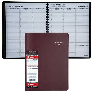 2021 At a glance 70 950 50 Weekly Appointment Book 8 1 4x10 7 8 Winestone Cover