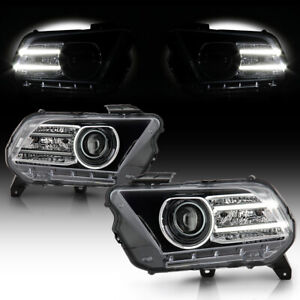dual Led Strip Projector Headlight Lamp For 10 12 Ford Mustaang Halogen Model