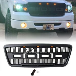 For 04 08 Ford F150 Raptor Style Black Front Hood Grille Conversion W Led