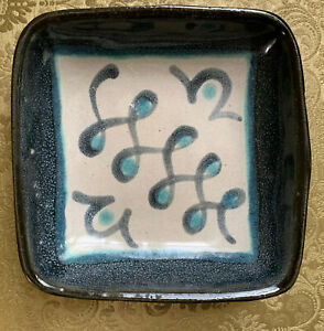 """Glidden Pottery Fong Chow Design """"Running W"""" #27 Dish Bowl 5.5"""" Square"""