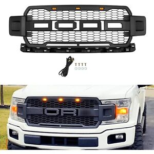 For 2018 2020 Ford F150 Raptor Style Conversion Front Hood Grille W Led Grill