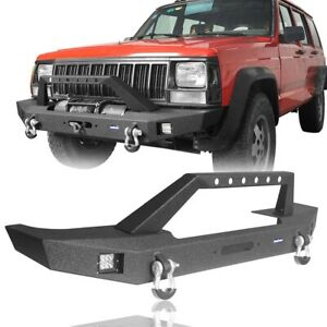 Fit For 1984 2001 Jeep Cherokee Xj Front Bumper Bar W Winch Plate Led Lgiht