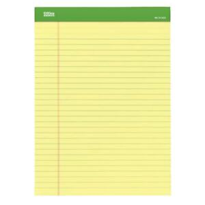 Office Depot Writing Pad 8 5 x11 75 Canary 50 Sheets pad 6 pack