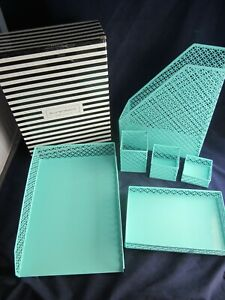 Blu Monaco 6 Piece Desk Organizer Set Office Supplies Green New In Box