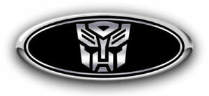 New Fits Various Ford Models Autobot Black chrome Logo Overlay Front Decal