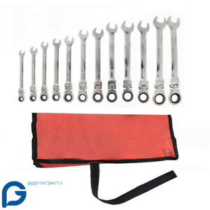 12pcs 8 19mm Metric Flexible Head Ratcheting Wrench Spanner Combo Tool Set W box