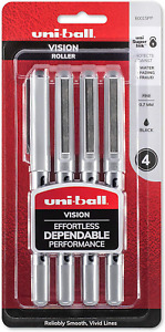 Uni ball Vision Rollerball Pens Fine Point 0 7mm Black 4 Count