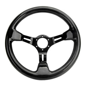 Hiwowsport Real Carbon Fiber 350mm 14 Black Racing Car Steering Wheel 6 Holes