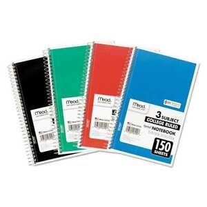 Mead Spiral Bound Notebook Perforated College Rule 9 5 X 5 5 043100069003