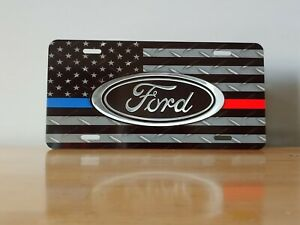 Ford Mustang Blue Red Line Custom License Plate Custom Car Tag