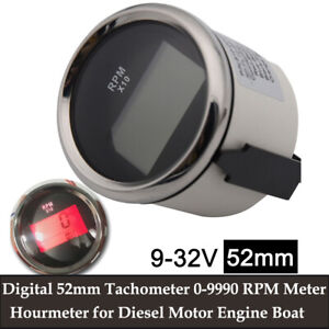 Universal 52mm Rpm Tachometer Engine Led Hourmeter For Boat Car Truck Motorcycle