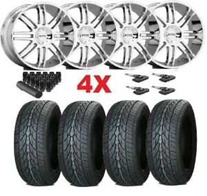 24 Chrome Wheels Rims Tires 305 35 24 Kmc Dub Lexani Forgiato Asanti