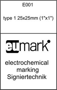 Stencil For Electrochemical Marking Etching Type 1 25x25mm Or 1 x1 Signiertechn