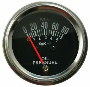 Chrome 2 Inch Mechanical Oil Pressure Gauge Kit 0 80 Psi