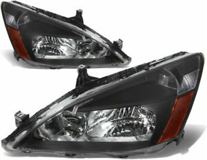 For 2003 2007 Honda Accord Headlights Head Lamps Black amber Set Pair Rh lh 2pcs