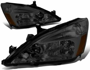 For 2003 2007 Honda Accord Headlights Head Lamps Smoked amber Set Pair Rh lh