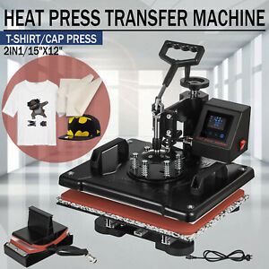 15 x12 2in1 Heat Press Machine Combo Digital Transfer T shirt Cap Hat Lcd