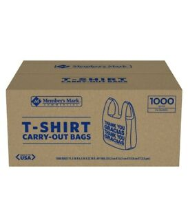 Member s Mark T shirt Carry out Bags 1000 Ct thank You Message Free Ship